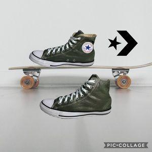 Metallic greenish gray Converse high top